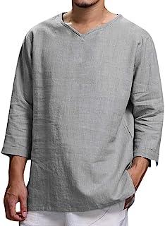 YU'TING ☀‿☀ Uomo Camicia in Lino Slim Fit Estate Elegante Casual Maniche Lunghe Camicie Spiaggia Uomo Colore Puro Classico Lavoro Shirts T-Shirt Uomo