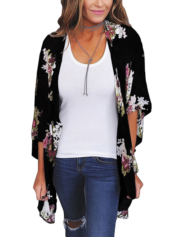 Zexxxy Cover up Blouse Tops Flower Print Open Front Shawl Kimono Coat Jackets Black S