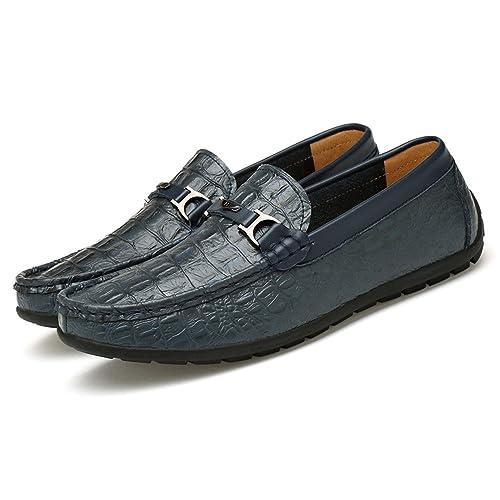 Mocasines de tacón Plano para Hombres Textura de Piel de cocodrilo Slip on Wear Resistente al mocasín: Amazon.es: Zapatos y complementos