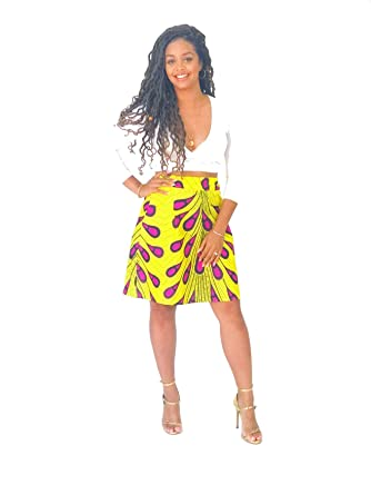 5a5f2bff80 African Print Yellow Ankara Skirt at Amazon Women's Clothing store: