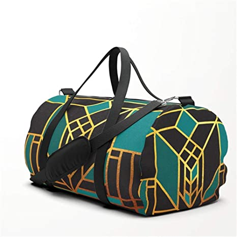 6226d81d77d1 Art Deco Leaving A Puzzle in Turquoise Travel Sport Barrel Duffle ...