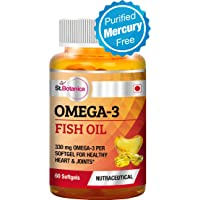 St.Botanica Omega 3 Fish Oil 1000mg - 330mg Omega 3 (180EPA, 120 DHA) - 60 Softgels