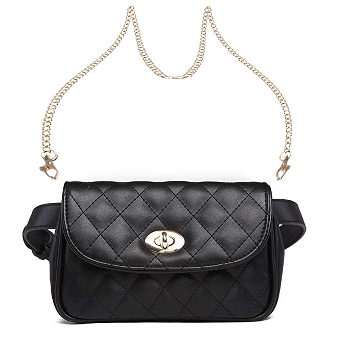 aed86cc4af22 Fanny Pack for Women Fashion Waist Bag PU Quilted Belt Bag Bum Bag Chest  Pack with