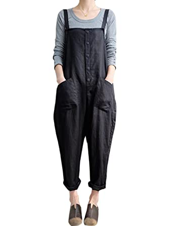 5cc0cc946ab Gihuo Women s Retro Style Cotton Linen Button Front Baggy Bib Overall  Pocket Jumpsuit Romper Plus Size