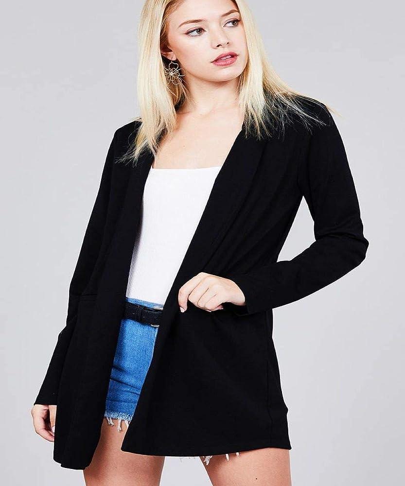 Amazon.com: Chaqueta tipo túnica de manga larga con cuello ...