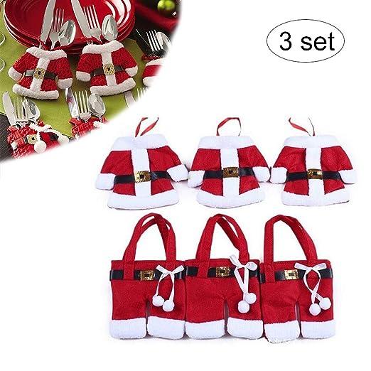 Hilai 6 piezas de soportes para cubiertos de Navidad, decoración ...