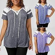Beautyfine_Tops Plus Size T-Shirt, Beautyfine Womens Short Sleeve Lace Up Raglan Sleeve Tops Blouse