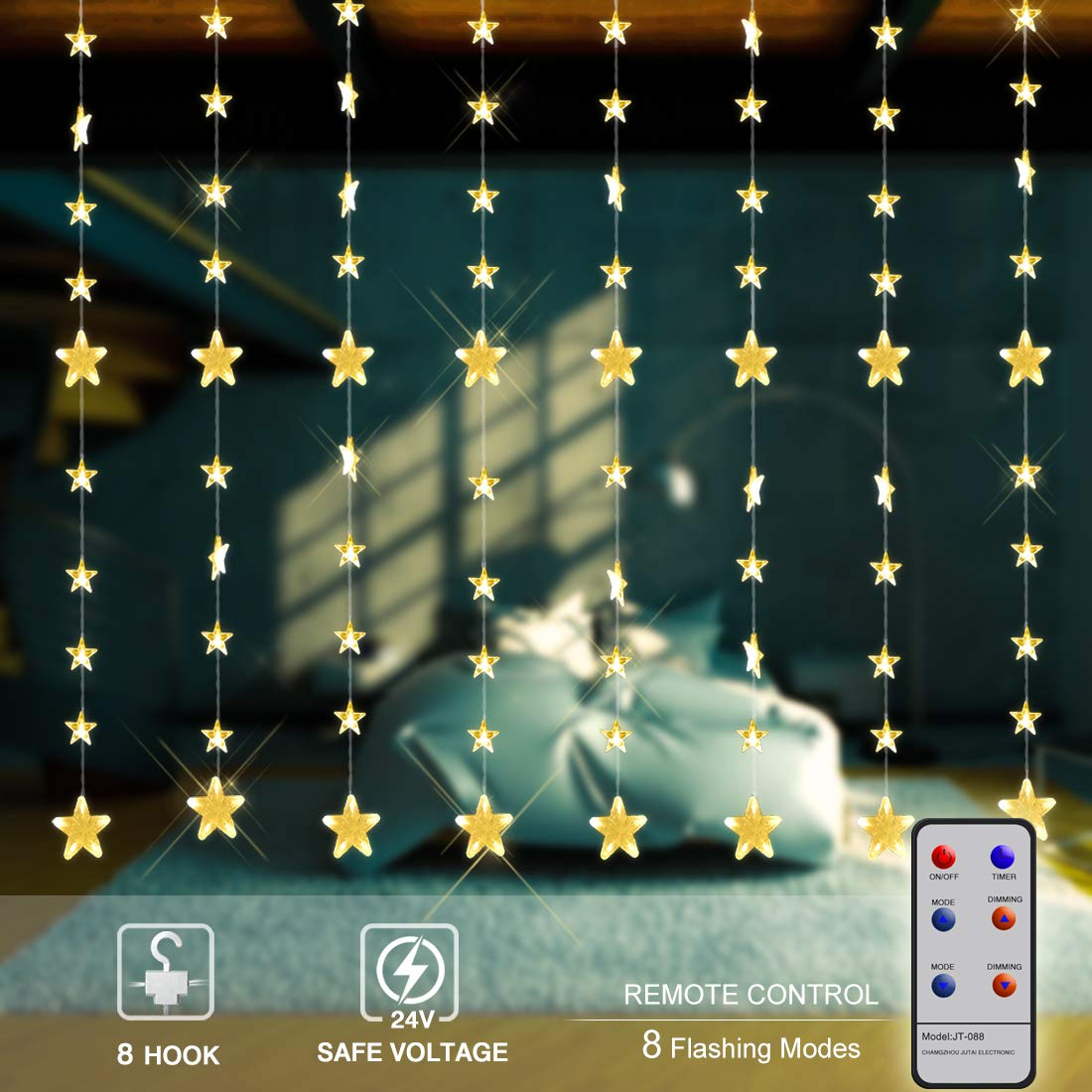LED Curtain Lights,Yinuo 80 Stars 144 LEDs Window String Lights,Outdoor Indoor String Fairy Light with 8 Flashing Modes,Perfect for Christmas Wedding Party Home Garden Bedroom Lighting Decoration Yinuo Candle
