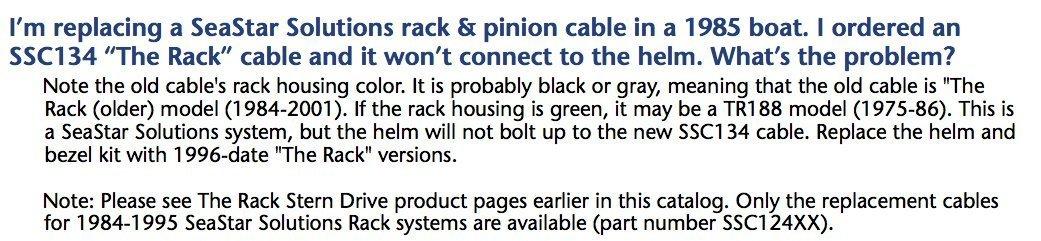 SEASTAR L/ösungen ssc134/X X Rack Steering Kabel f/ür R/ücken Mount Rack System