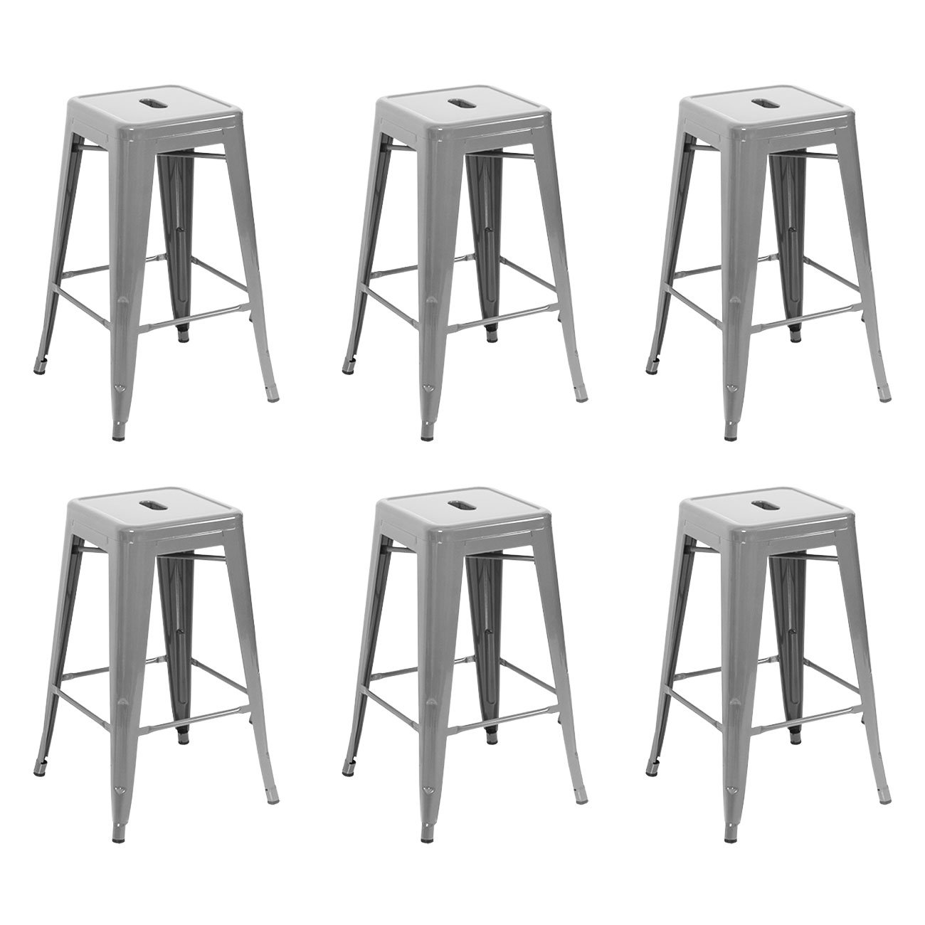 Belleze 26-inch Counter Stools Height Stackable, Silver (Set of 6) by Belleze