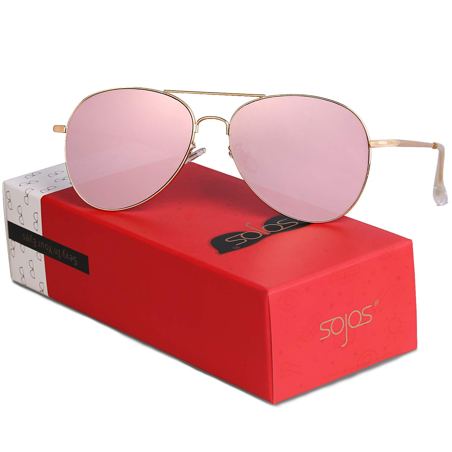 SOJOS Classic Aviator Mirrored Flat Lens Sunglasses Metal Frame with Spring Hinges SJ1030 (C13 Gold Frame/Pink Mirrored Lens with Gift Box, 58)