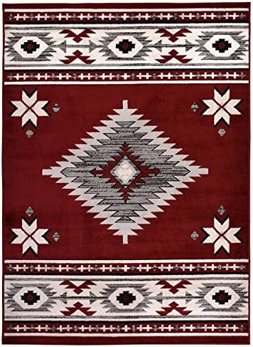 Comfy Collection Southwestern Design Area Rug Native American Traditional Rug 2 Different Color Options Navy Blue, 1 10 x 6 11 Runner