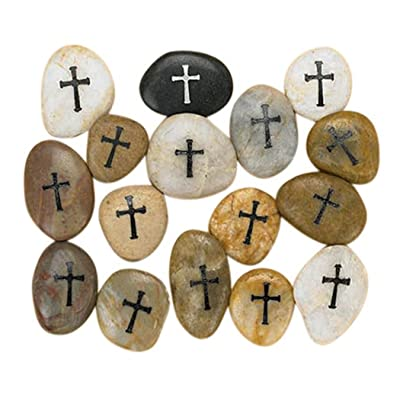 Religious Gifts Etched Cross on Inspirational Pocket Stone Rocks, Assorted Color, Box of 12 : Garden & Outdoor