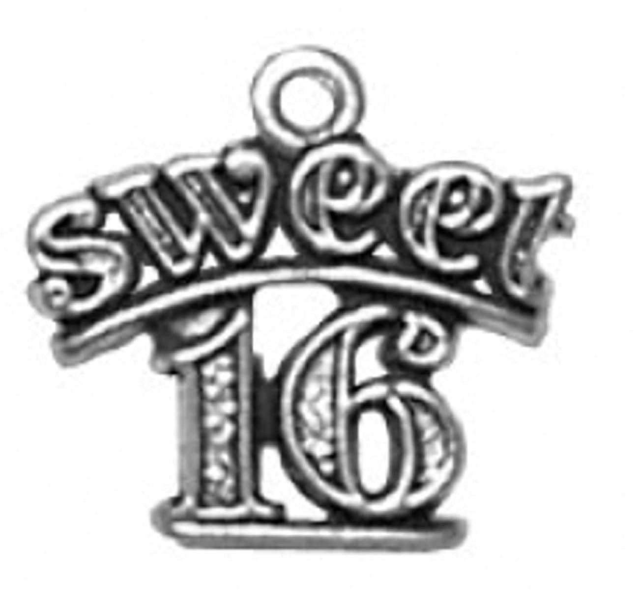 Sterling Silver 7 4.5mm Charm Bracelet With Attached SWEET Sixteen 16 Birthday Word Charm