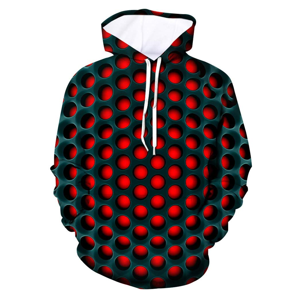 FEDULK Men's 3D Dot Print Hooded Sweater Sweatshirt Long Sleeve Loose Casual Tops Novelty Pullover Tunic(Black, XX-Large) by FEDULK