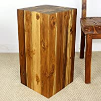 Block Hollow Teak Wood End Table 12x12x23 inch H w Eco Friendly Livos Walnut Oil