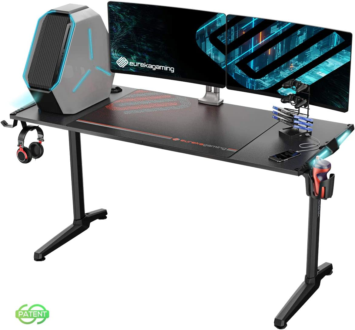 EUREKA ERGONOMIC Gaming Computer Desk 55 Home Office Gaming PC Tables New Polygon Legs Design with RGB LED Lights, Colonel Series GIP-55B, Black