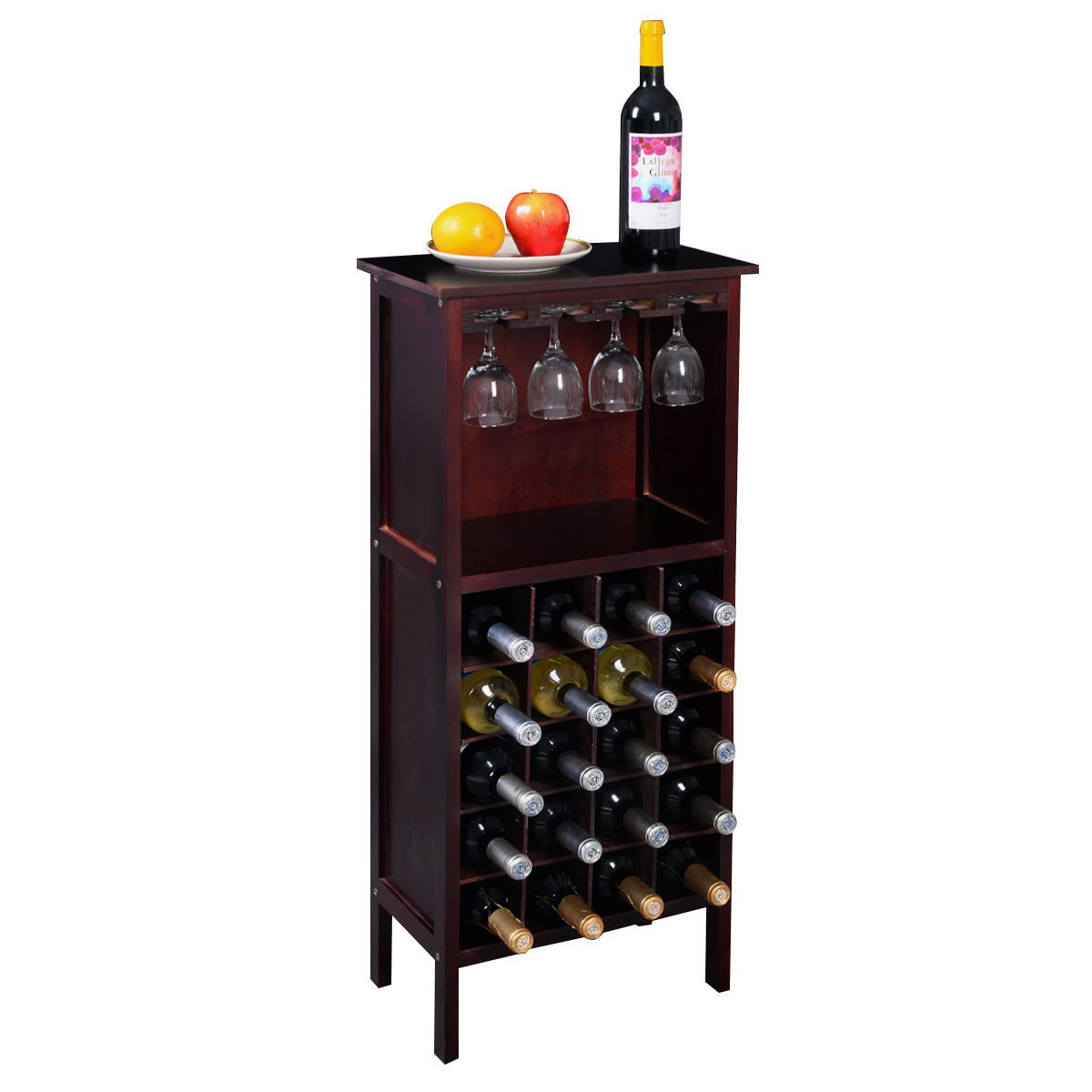 New Wine Wooden Cabinet Bottle Holder Storage Kitchen Home Bar w/ Glass Rack by Unknown (Image #2)