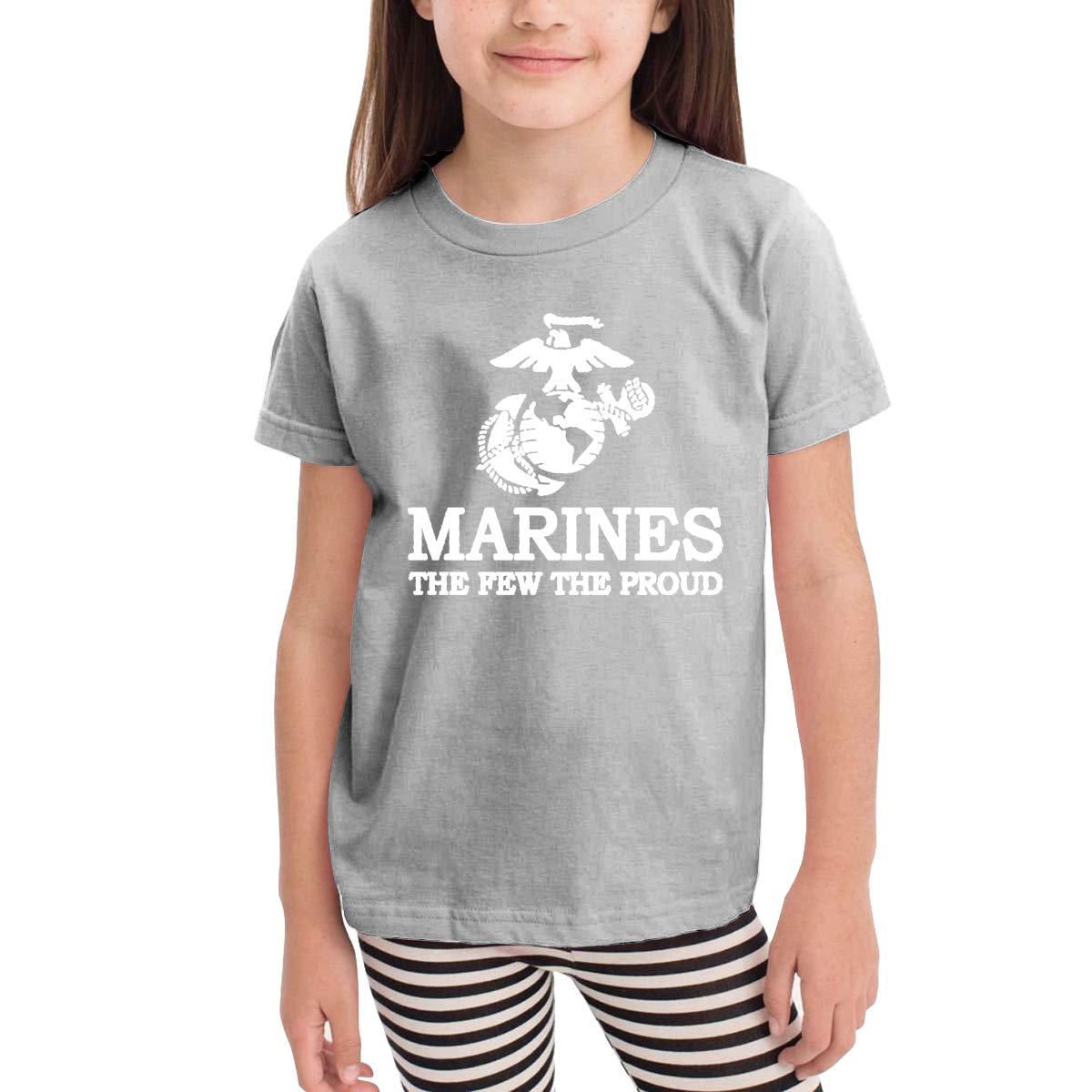 Retro USMC The Few The Proud Marines Logo Unisex Youths Short Sleeve T-Shirt Kids T-Shirt Tops Black