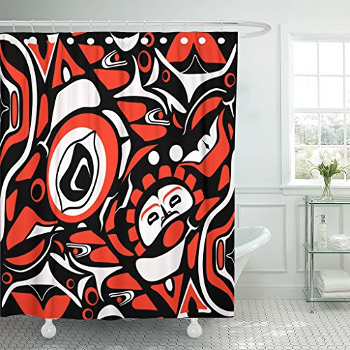 TOMPOP Shower Curtain Black Canadian Abstract Red Native North American Indigenous Tribal Waterproof Polyester Fabric 72 x 72 inches Set with Hooks - Northwest Native Patterns