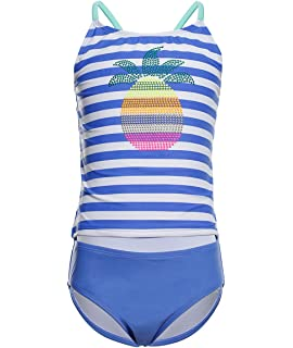 LEINASEN Two Piece Bathing Suits for Girls Colorful Floral Printing T-Back Beach Tankini Swimsuits for Kids
