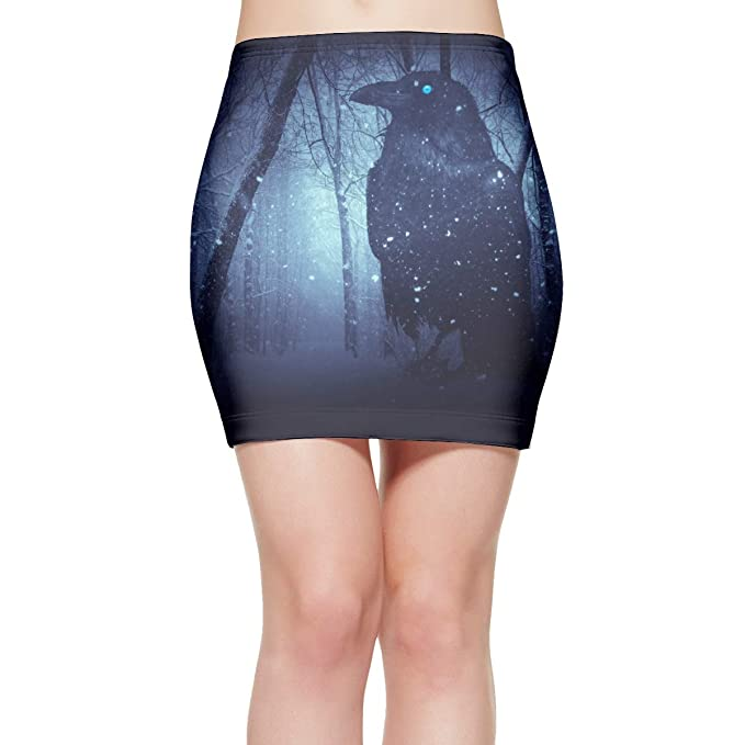 ad0702700f58 Women's Sexy Stretch Simple Raven Crow Forest Midnight Moonlight Pencil Mini  Skirt Simple Career Office S