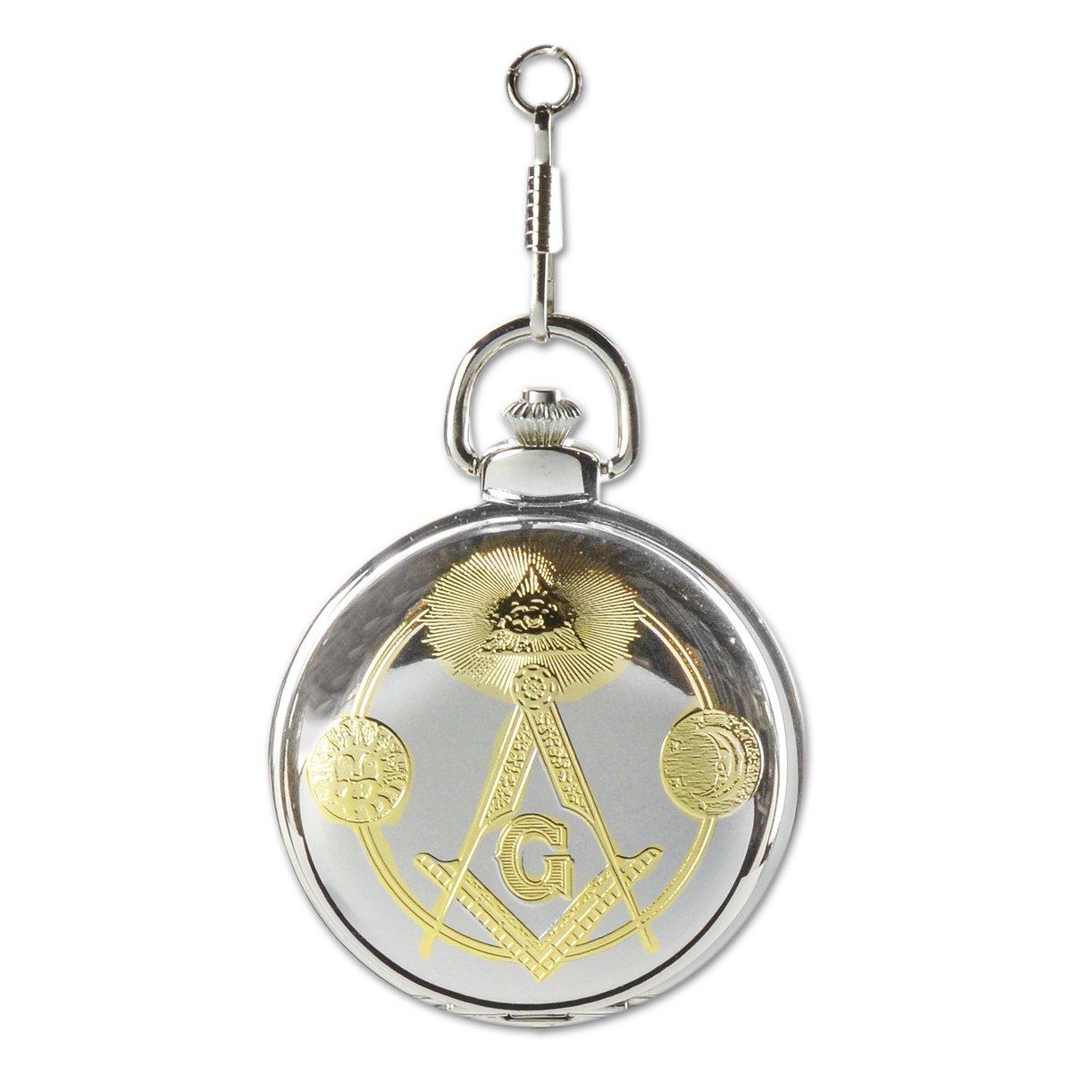The Masonic Exchange Masonic Square & Compass Silver & Gold Pocket Watch - 2'' Diameter