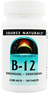 Source Naturals B-12 Sublingual, 2000Mcg, 100 Tablets