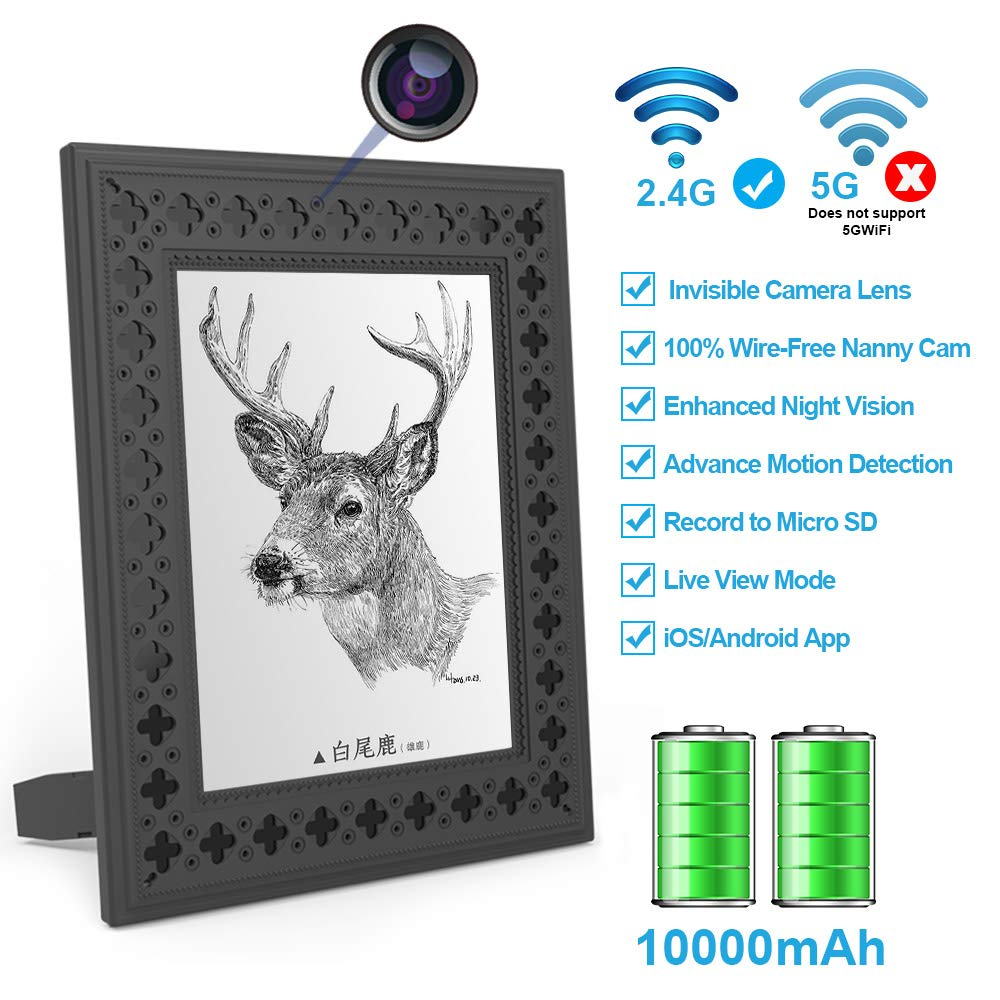 Hidden Camera WiFi Photo Frame HD Home Security Spy Camera Night Vision and Motion Detection Wireless IP Nanny Cam with One Year Battery Standby Time and Instant Alerts to Smartphone (Video Only) by FUVISION