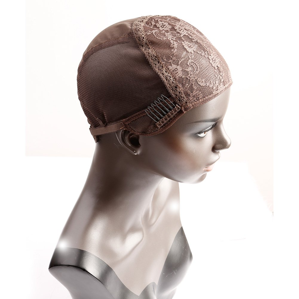 Bella Hair Glueless Wig Caps for Making Wig with Combs and Adjustable Straps Swiss Lace Brown Medium Size