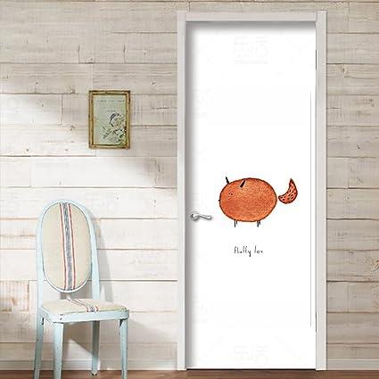 Animal Porte Murale Renard Et Baleine Papier Peint De Porte Motif De
