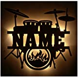 Namofactur Unique LED Wall Hanging Drum Set Light – Personalized with Name for Drummer, Musician Or Music Teacher – Custom Gi