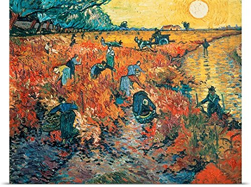 GREATBIGCANVAS Entitled Red Vineyards at Arles, 1888 Oil on Canvas Poster Print, 48