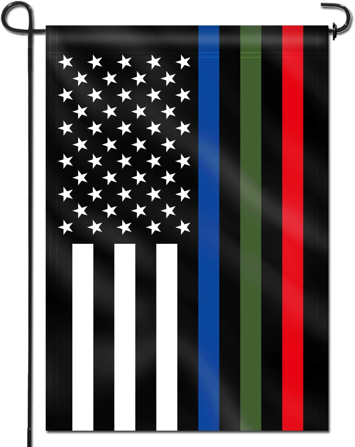 Anley Double Sided Premium Garden Flag, Thin Blue Green and Red Line USA Decorative Garden Flags - Weather Resistant & Double Stitched - 18 x 12.5 Inch