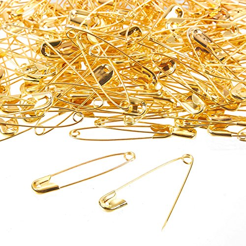 400-Count Safety Pins - Large Safety Pins for Garment Repair, Quilting, Jewelry Making, Gold - 1.7 x 0.4 Inches