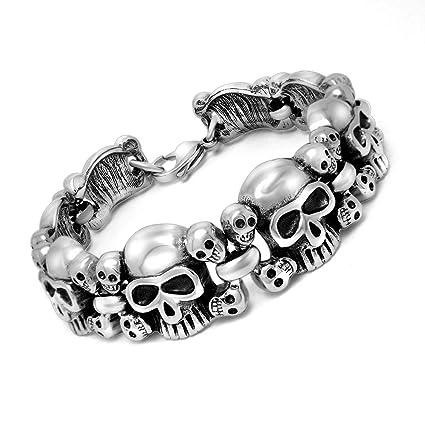 414bcba4b008c Leather Bracelet Men's Stainless Steel Retro Skull Bracelet Punk ...