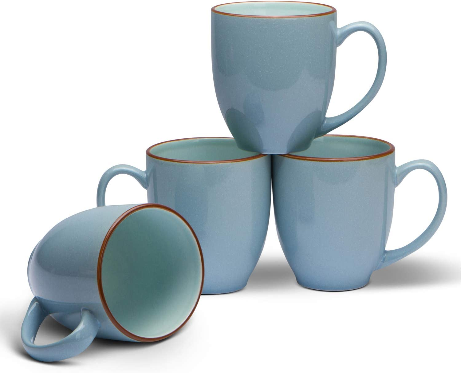 Serami 14oz Bistro Cool Blue Mugs for Coffee or Tea. Large Handles and Ceramic Construction, Set of 4