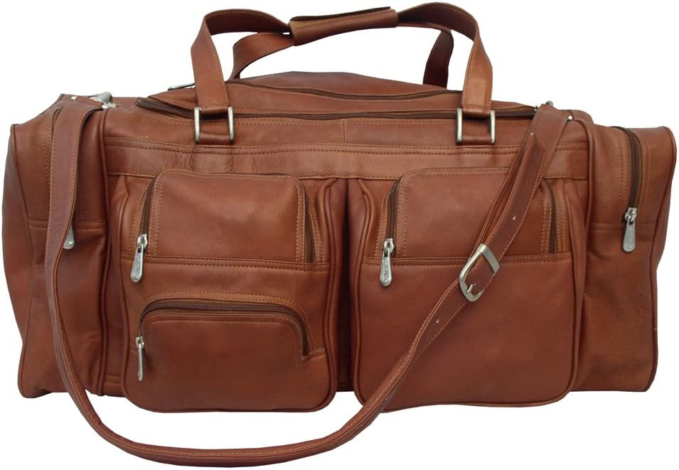 Piel Leather 24In Duffel with Pockets, Saddle, One Size
