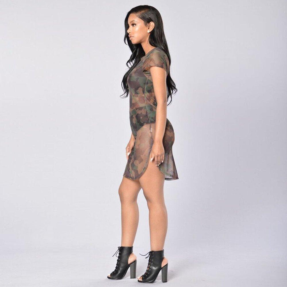 Women Dresses Teen Girls Camouflage See-Through Sheer Short Sleeve Sport Pullover Top Mini Dress
