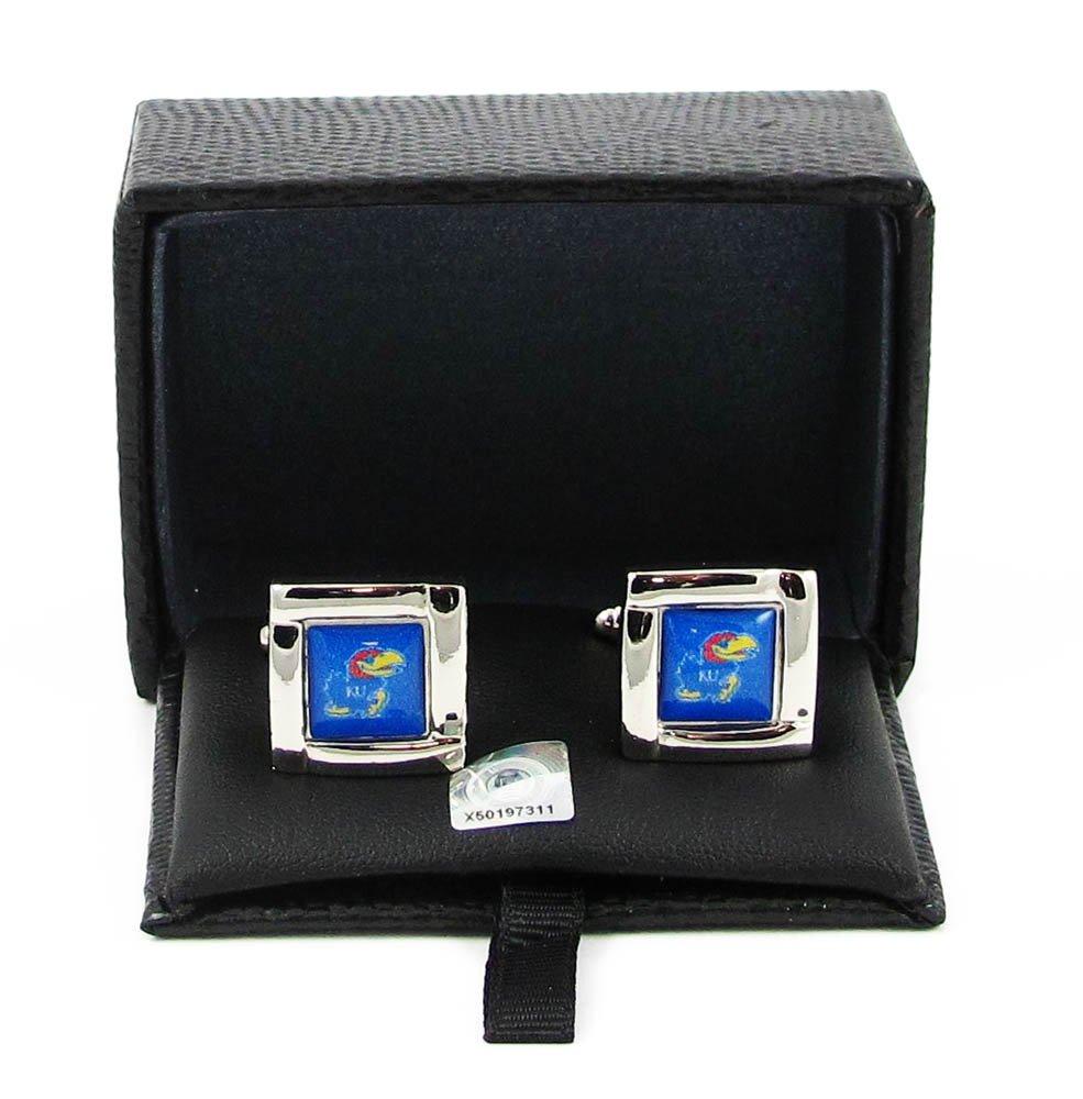 NCAA Kansas Jayhawks Sports Team Logo Square Cufflinks Gift Box Set Aminco 34166884