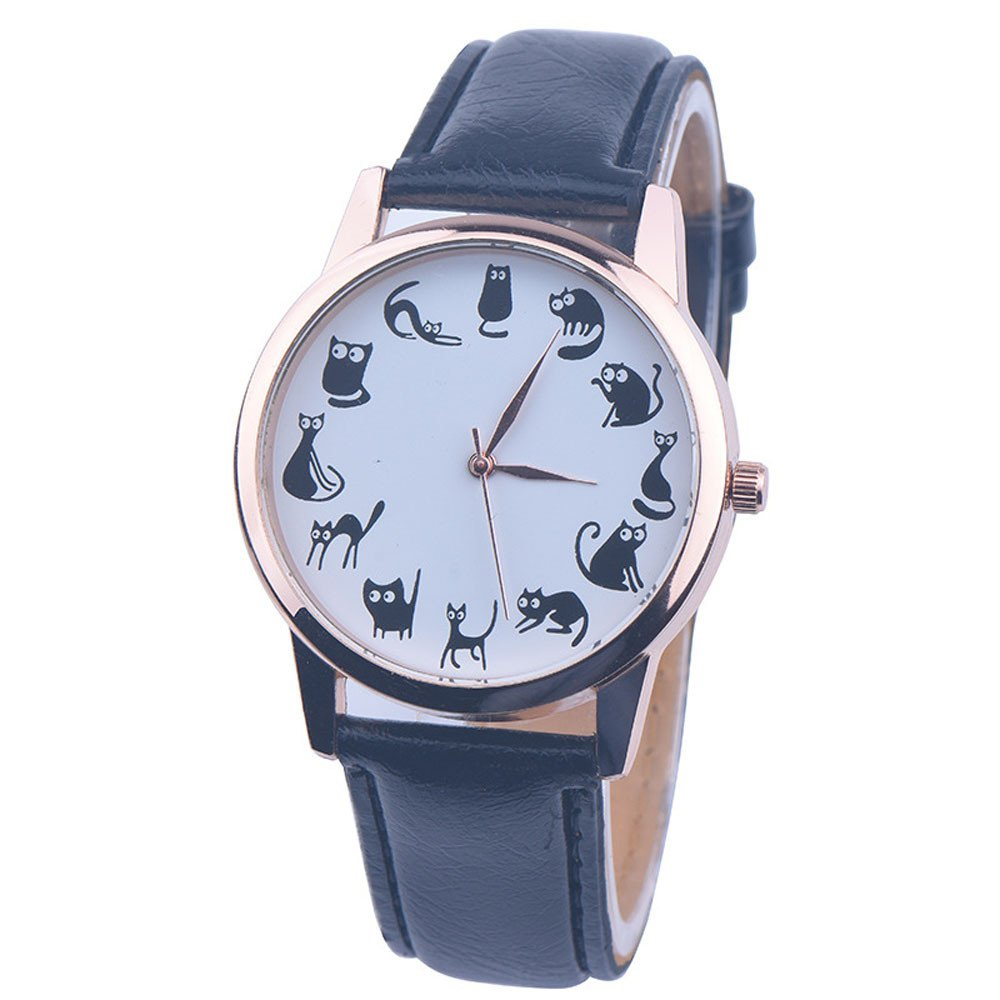 Womens Quartz Watches,Hotkey Unique Cat Analog Fashion Clearance Lady Watches Female watches on Sale Watches for Women,Round Dial Case Comfortable Faux Leather C48 (Black)