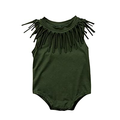 Honganda Cute Infant Baby Girl Sleeveless Tassel Romper Bodysuit Summer Outfit Clothes