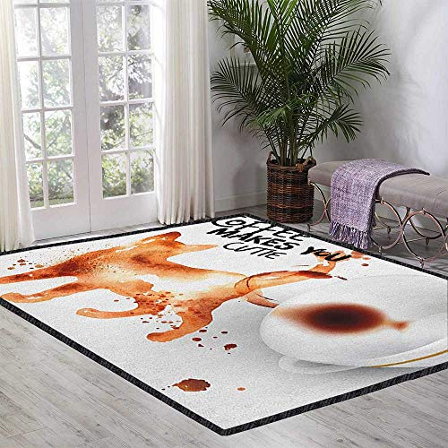 Coffee Art Anti-Skid Area Rug,Humorous Inspirational Phrase with Cat Kitten Silhouette Caffeine for Hard Floors Burnt Sienna Black White 47