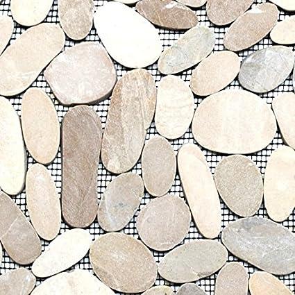 Ciottoli Tagliato Uni Tan 5 7 Sassi Di Fiume Fiume Ciottoli Di Pietra Mosaico