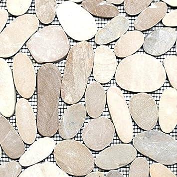 Mosaik Fliese Flußkiesel Steinkiesel hellbeige Kiesel geschnitten ...