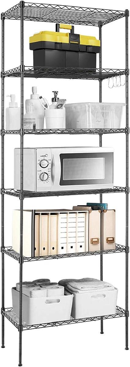 Devo Estantería Estantería de Cocina Estantería en Metal con Ganchos Laterales de Cromado 21.3Lx11.4Wx63.0H (Negro)