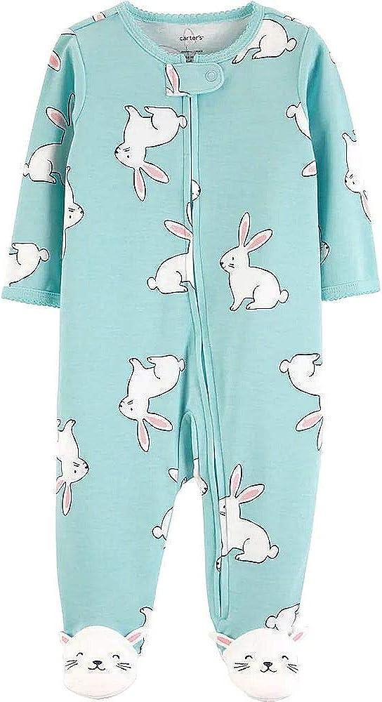 Sleep n Play Baby Girls Blue Bunny Cotton Footed Pajama Sleeper