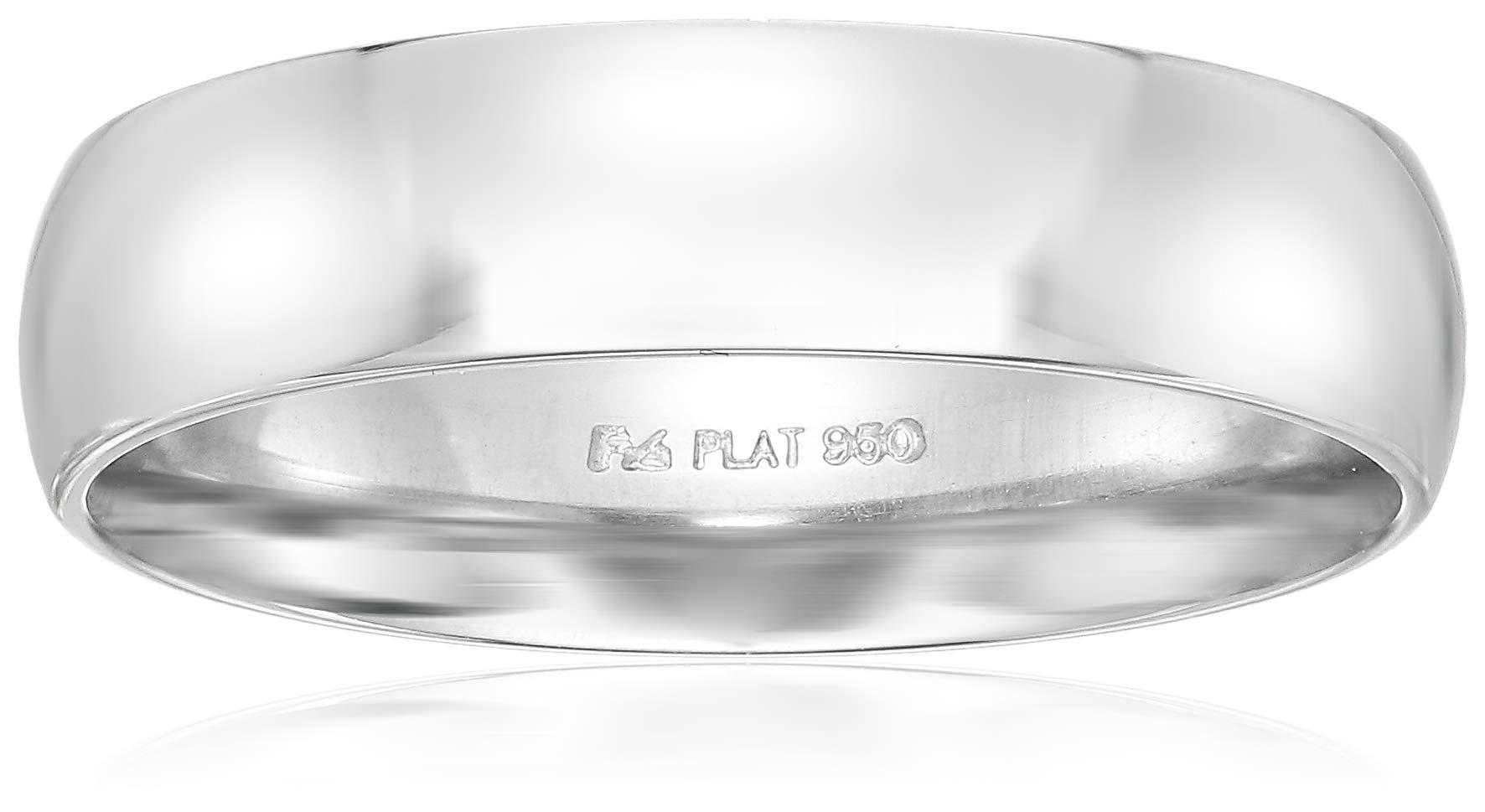 Men's Platinum 5mm Low Dome, White, Comfort Fit Plain Wedding Band, White, Size 8.5