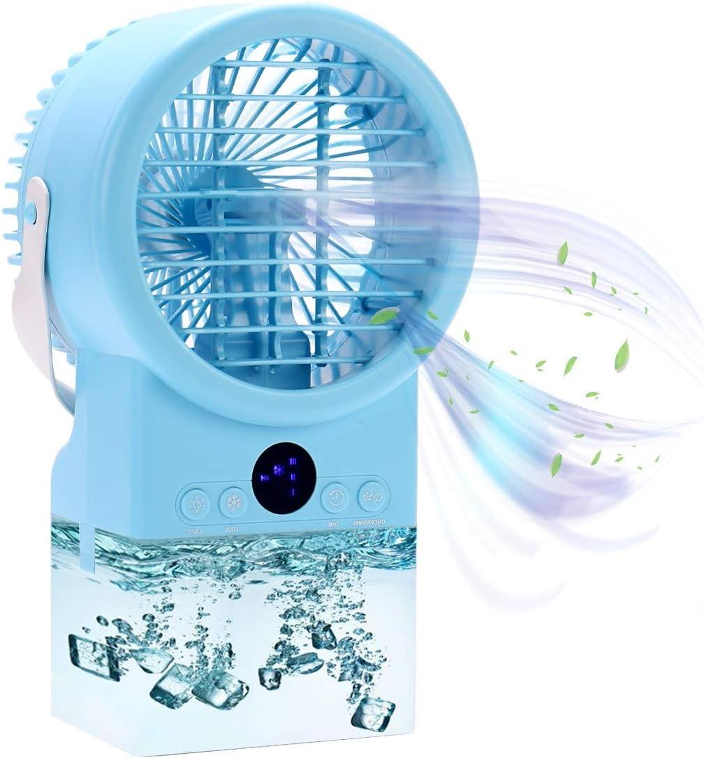 DIKER Air Cooler Humidificador Purificador Turbo-Ventilador Mini Aire Acondicionado Climatizador Portátil, Enfriador temporizadores con 3 velocità