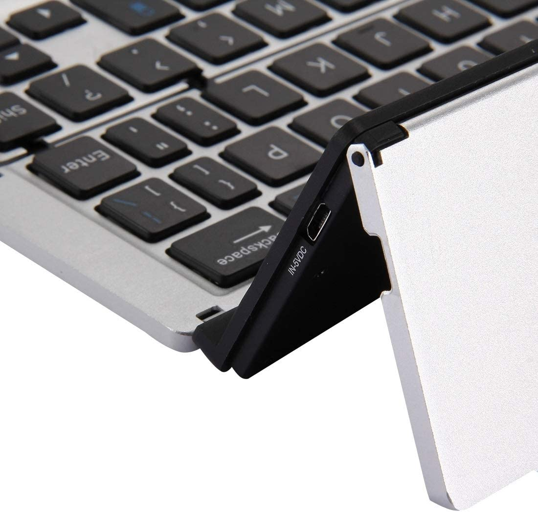 Gold Silver Rose Gold HUIFANGBU F18 Ultra-Slim Rechargeable Foldable 58 Keys Bluetooth Wireless Keyboard with Holder Color : Silver Grey